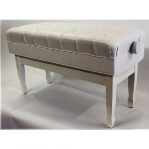Concerto pour cuir véritable Deep matelassé Blanc poli Banquette de piano–Fs504pwhl