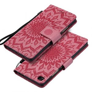 EINFFHO Coque Huawei P8, Gaufrage Fleurs Coque en Cuir avec Souple Silicone Portefeuille Leather Folio Flip Housse Étui pour Huawei P8 Wallet Pouch Case Cover, Rose