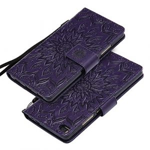 EINFFHO Coque Huawei P8, Gaufrage Fleurs Coque en Cuir avec Souple Silicone Portefeuille Leather Folio Flip Housse Étui pour Huawei P8 Wallet Pouch Case Cover, Violet