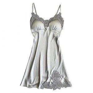 feiXIANG Lingerie Femme Sexy Erotique,Femme Robe de Chambre Chemise de Nuit en Satin Nuisette Lingerie Pyjama Peignoir Robe de Nuit