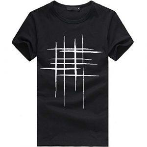 feiXIANG T-Shirt – Printemps Été, Homme Mode Casual Simple Col Rond Lettre Imprimée Tee Shirt Sport Tops à Manches Courte Slim Fit Sport Pullover Chemisiers Blouse (Noir,XXL)