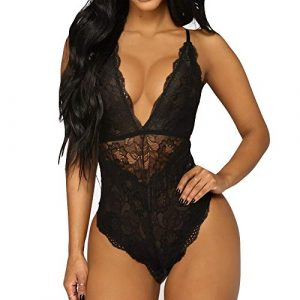 Lingerie Femme CIELLTE sous Vêtement de Seduction Grand Taille Costume Tentation Erotique Dentelle Nightwear Back Cross Col V Profond Jumpsuit
