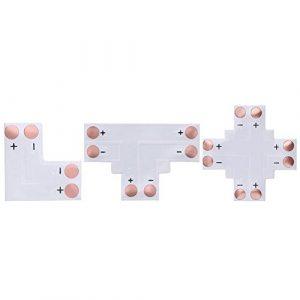 Matefield Lot de 10 connecteurs d'angle à 2 broches 3528 à LED Couleur unique 8 mm