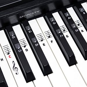 Piano + Clavier de notes autocollants ★ [Version allemande] pour instruments avec 49–61–76–88 Touches Premium ★ Piano Sticker pour noire & blanche touches + e-book Notenaufkleber (weiße & schwarze Tasten)