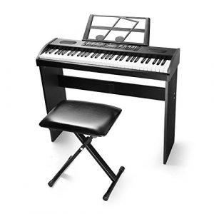 Vangoa VGK6100 Clavier électronique 61 touches pour clavier de piano avec banc X-Style Noir