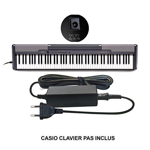 ABC Products® Remplacement Casio DC 12V / 12V Volt Adaptateur Secteur Mur Cable (AD-12M3, AD-12MLA(U), AD-12MLA, AD-12M, AD-12UL, AD-12, AD-12FL, FC2, TJ2) pour Casio Synthesizers / Piano's / Keyboards / Clavier etc (modèles indiqués ci-dessous)