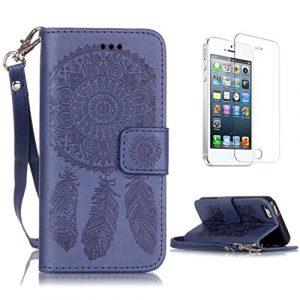 CaseHome for iPhone SE/5S/5 Coque en Cuir Motif Livre Stylé Folio Flip Portefeuille Pochette Désign Protecteur Prime PU Cuir Etuis Housse for Apple iPhone SE/5S/5-Bleu