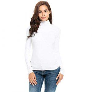 ❤ Mode Femme Sexy Casual Col Carré Couleur Unie sans Bretelles Manches Longues Slim Chic Pullover T Shirt Tops Simple Blouse feiXIANG (Blanc, S)