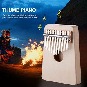 pouce Piano, Muitobom 10touches pouce Piano Format de poche les débutants Friendly prenant en charge Kalimba Sac et Piano Instrument pour amateurs de musique et débutant white