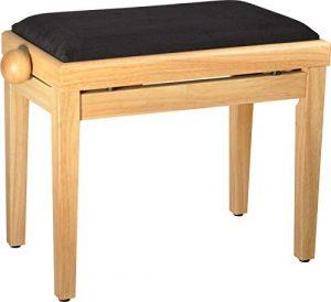 Steinbach 401 Banc de piano avec assise en tissu noir mat
