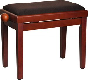 Steinbach 401 Banc de piano en acajou mat avec assise en tissu marron