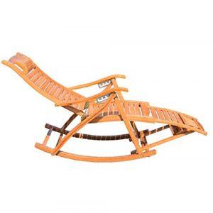 YAMEIJIA Chaise à Bascule en Bambou et Chaise Longue Adulte Balcon Sieste Chaise Vieux Loisirs Pliage déjeuner Pause Chaise