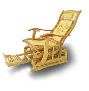 YAMEIJIA Chaise à Bascule inclinable Adulte Chaise Pliante Sieste Maison Balcon Loisir Facile Chaise Vieil Homme Chaise en Bambou