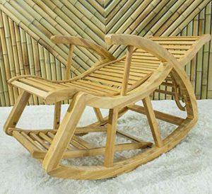YAMEIJIA Rocking Chair, Fauteuil à Bascule en Bambou, Long Balcon inclinable, Pause déjeuner, Chaise de Sieste, Loisirs de Vieil Homme