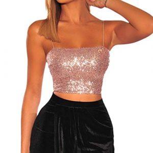 Débardeur Femmes Chic 2019, Manadlian Classics Ladies Pads Bandeau Gilet à Paillettes sans Manche Chemise Été Blouse Fille Printemps Soiree Club Vest