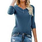 ❤ Femme Mode Casual Boutons Col Rond Couleur Unie Manches Longues Slim Chic Pullover T Shirt Tops Simple Blouse feiXIANG (Bleu,L)