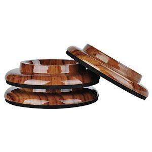 KingPoint, lot de 3 coupelles pour roulette, tampons de protection en ABS pour roulette. palissandre