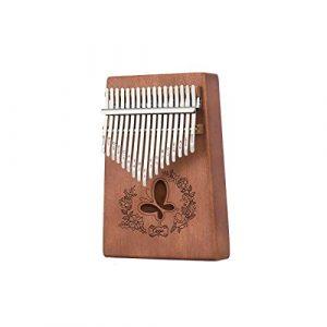 Muziwenju Piano Kalimba 17 touches, Acajou pur, Beau ton, Facile à transporter, Facile à apprendre, Couleur du bois/Rose, Son original, Nouveautés Bien fait (Color : Dark brown)