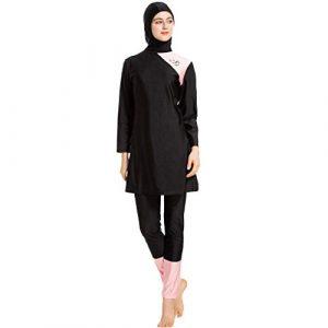 Heligen Maillot de bain musulman pour femme Motif hijab islamique L 3 Black