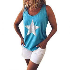 Trunly Femme Camisole Été sans Manches Grande Taille Sexy Chic Col Rond imprimé étoiles Débardeur Hauts Mode Fille D'été Veste T-Shirt Chemisier Blouse Tops S-XXXXXL