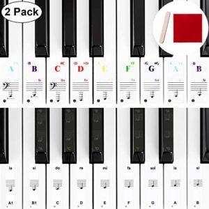 Autocollants de Piano de Couleur Autocollants Piano Noir Autocollants Piano de Remplacement avec Mini Bâton de Montage, Chiffon d'Essuyage pour Claviers 32, 37, 54, 61, 88