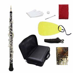 Busirde Professional Oboe C clé Cupronickel plaqué Argent avec des Gants Chiffon de Nettoyage Tournevis Sac étui en Cuir Bracelet