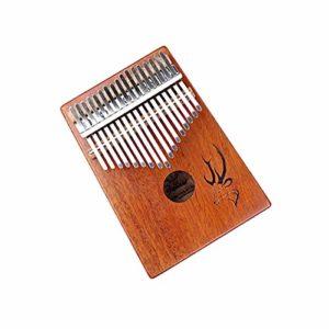 Guyuexuan Piano Kalimba 17 touches, Acajou pur, Beau ton, Facile à transporter, Facile à apprendre, Motif de cerf bleu, Son original, Nouveautés Excellent matériel (Color : Brown)