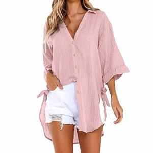 HucodeVan Femmes Chemise Manches Longue Mini Robe Mousseline T-Shirt Haut Blouse Grande Taille Chemise Manche Trempette Ourlet Salut Il Bouton Collier