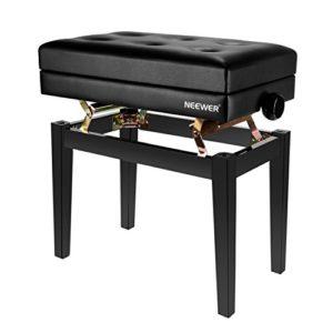 Neewer NW-007 Banc de Piano Deluxe Rembourré Réglable Tabouret en Cuir Sans Dos avec Compartiment de Stockage, Construction en Bois Solide avec Charge Admissible 110 kg (Noir)