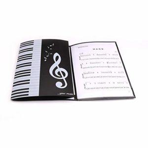 Classeur de partitions de piano à quatre côtés, format A4, trois rabats, 6 pages