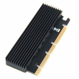 Farrom Adaptateur NVME M.2 vers PCIE3.0 Carte d'Extension Pleine Vitesse x16x8x4 MKEY Boîte de Refroidissement en Aluminium
