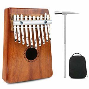 Pouce Piano Kalimba Acajou/Acacia 10 Touches Mini Clavier Instrument Piano Africain Naturel Calimba Avec Accessoires Complets Accordage Marteau Sac,Acacia