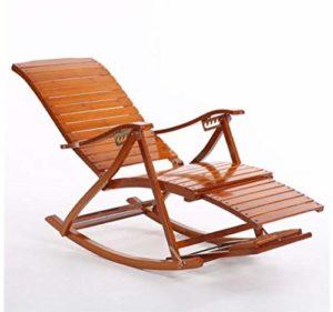YAMEIJIA Confortable Relax Bambou Rocking Chair avec Repose-Pieds Design Salon mobilier Adulte Lounge Chaise inclinable intérieur/extérieur,A
