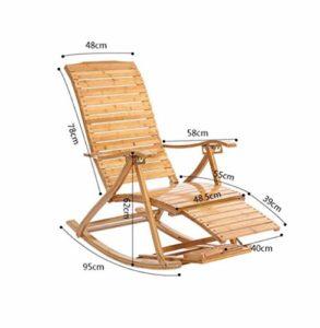 YAMEIJIA Confortable Relax Bambou Rocking Chair avec Repose-Pieds Design Salon mobilier Adulte Lounge Chaise inclinable intérieur/extérieur,B