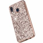 Saceebe Compatible avec Samsung Galaxy A20 / A30 Coque Brillante Diamant Paillette Strass Coque Glitter Luxe Silicone Housse Etui de Protection Antichoc Anti-Rayures Ultra Fine Mince Étui,Or Rose