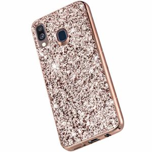 Saceebe Compatible avec Samsung Galaxy A20 / A30 Coque Brillante Diamant Paillette Strass Coque Glitter Luxe Silicone Housse Etui de Protection Antichoc Anti-Rayures Ultra Fine Mince Étui,Or Rose