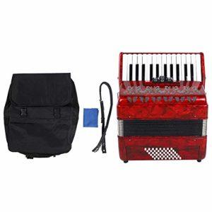 Bnineteenteam Accordéon Musical 26 Instruments durables de Basse Grave accordéon Instrumental(Rouge)