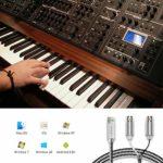 Asmuse Câble MIDI vers USB, Interface MIDI profesionnel avec Deign à Glissière, Fil de cuivre pour les audiophile,Dernière puce(5,6 pieds)