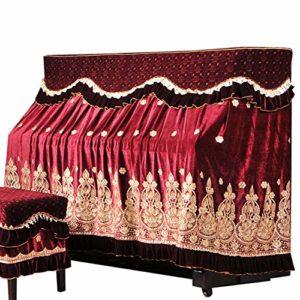 no brand Exquis Dentelle Broderie Piano Parfaitement coréenne Ice Soie Faux Laine Broderie poussière Tissu avec Couverture Tabouret (Color : Red, Size : 76x36cm)