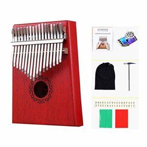 Jiutinggood Piano à pouce 17 touches Kalimba en bois avec sac de transport 9.06 x 7.48 x 3.15 inches Rouge.