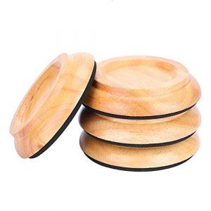 4 PCS Pads de pied de piano, rond en bois de hêtre Piano Caster Cup Foot Pad Set Upright Piano Caster Cups Accessoires(Wood)