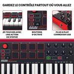 AKAI Professional MPK Mini MK2 – Clavier Maître MIDI/USB 25 Touches Sensibles à la Vélocité avec 8 Pads et Joystick 4 Voies + VIP 3.0, Noir