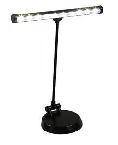 Alneo Light Sunlight Lampe de Piano / Lampe de Bureau LED avec 10 Power LED – Batterie, fonctionnement USB or sur secteur – plaque de fond rigide modifiée – complètement pivotante vers l'avant (Coloris Noir mat)