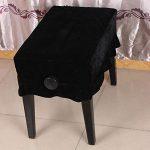 Alomejor Housse de Tabouret de Piano Housse de Tabouret Anti-poussière Pleuche Housses de Siège de Tabouret Housse de Piano Plissée Protecteur de Chaise pour Piano(Noir)