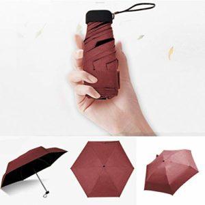 Amlaiworld Parapluie Mini Pliant Ultra Léger Compact Portable Séchage Rapide Résistance aux UV avec Boucle Hexagone en Silicone pour Activités en Plein Air Golf Voyage Randonnée Panpany (Rouge)