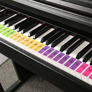 Aokshen Lot de 2 Autocollants pour clavier de piano 88/61/51 touches avec nom sonore Autocollants fournitures pour débutants étudiants enfants