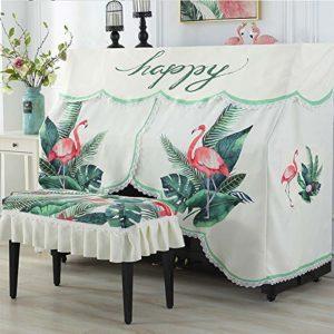 Asdflina Housse de Piano exquise brodée en Tissu imprimé Flamant Rose, Tissu, Blanc, 80x40cm