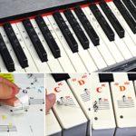 Autocollant pour clavier de piano amovible coloré ou blanc avec touches noires pour enfants et débutants