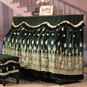 BESTSOON Housse De Protection pour Piano pour Pianos Vertic Ice Soie coréenne Toison Broderie Piano Parfaitement Tissu Dentelle Broderie Tissu avec antipoussière Tabouret Couverture
