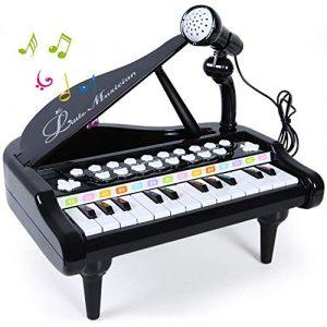Biggroup bébé enfants Piano, clavier de jeu, 24touches Electronic Educational Instrument de musique avec micro, Audio Link avec mobile MP3iPad PC, Noir